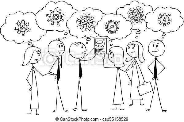 affari, lavorativo, soluzione, insieme, cartone animato, squadra, problema, trovare - csp55158529