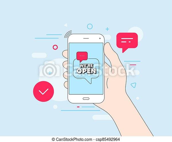 affari, nuovo, promozione, vettore, open., we're, segno. - csp85492964