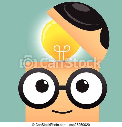 affari, testa, uomo, bulbo, luce, idea, concetto - csp28250020