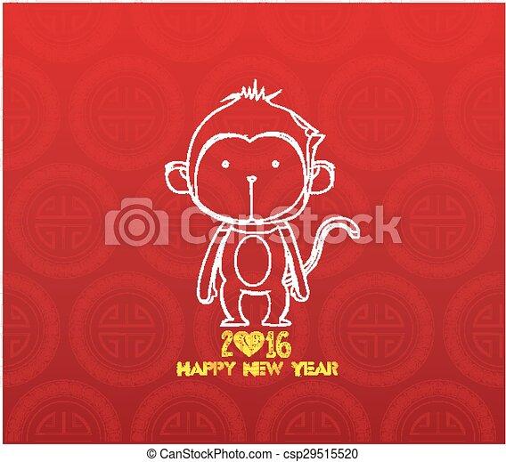Monkey Design für chinesisches neues Jahr - csp29515520
