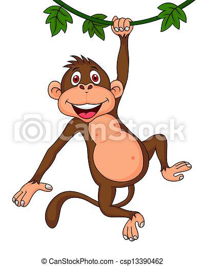 Süßer Affen-Zeichentrickfilm - csp13390462