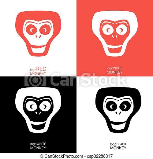Affe, schablone, logotype. Monkey., satz, affe, symbol,... Vektor ...