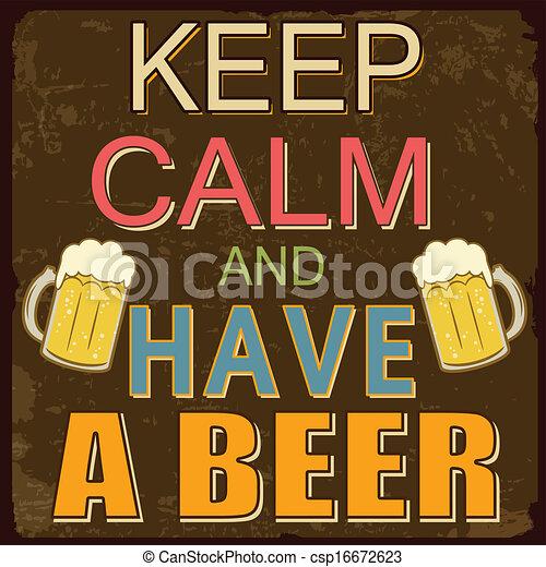affiche, bière, calme, avoir, garder - csp16672623