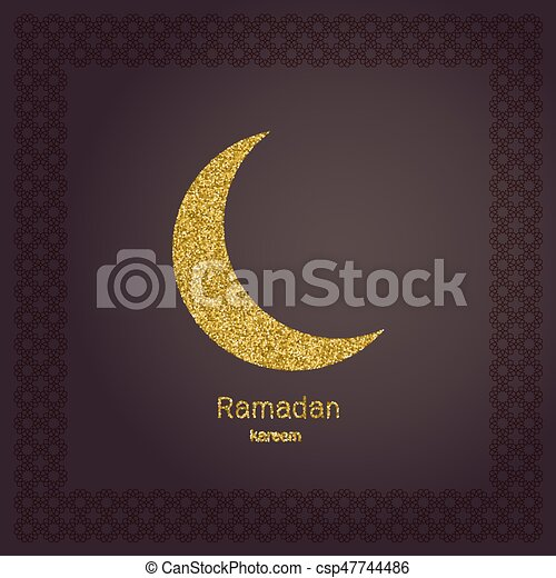 Affiche Carte Or Moon Ramadan Salutation Invitation Vecteur