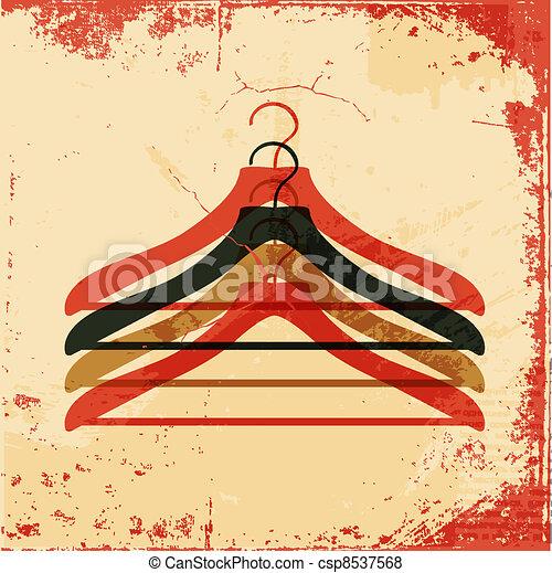 affiche, cintre, retro, vêtements - csp8537568
