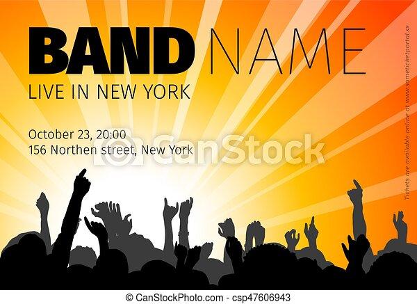 Affiche Concert affiche, concert, gabarit. concert, affiche, nom, bande, silhouettes