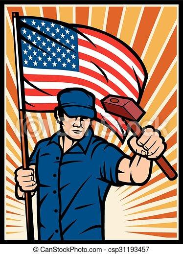 affiche, drapeau, ouvrier, usa - csp31193457