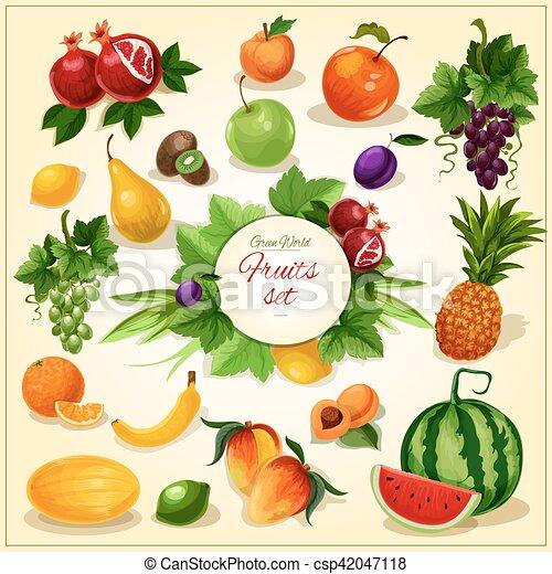 Affiche feuilles fruit dessin anim m re grenade p che mangue kiwi m re prune citron - Grenade fruit dessin ...