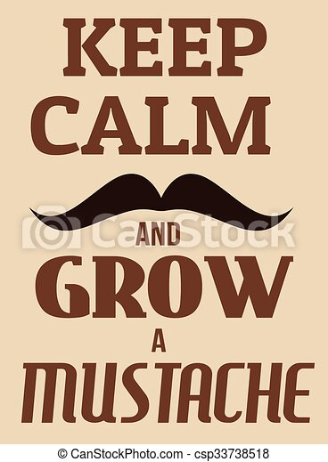 affiche, grandir, calme, moustache, garder - csp33738518