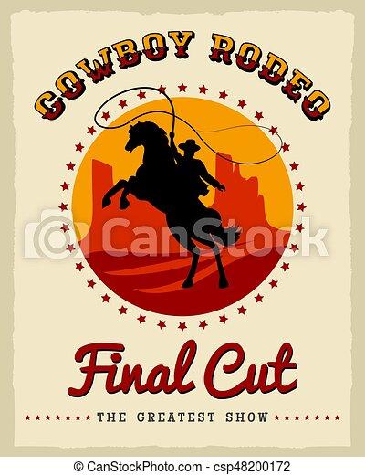 affiche, rodéo, cow-boy - csp48200172
