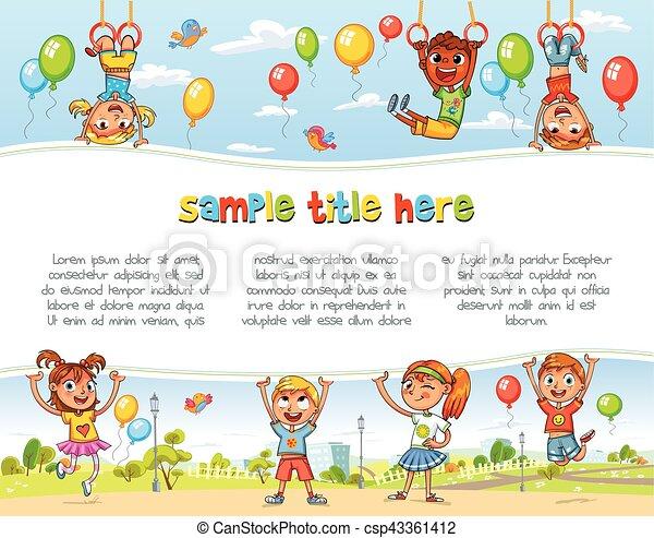 affiche, tenue, vide, playground., enfants, heureux - csp43361412