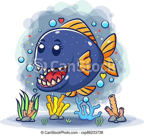 affilato, carino, piranha, denti, mare, sotto - csp86233738