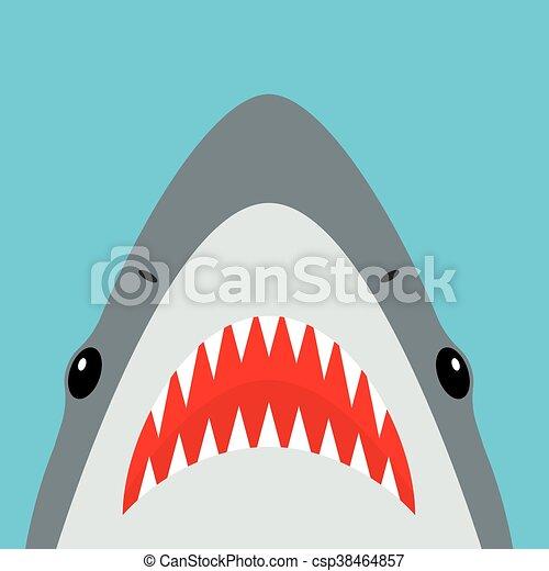 affilato, squalo, parli modo enfatico apra, denti - csp38464857
