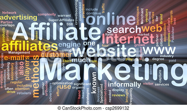 Affiliate marketing word cloud box package - csp2699132
