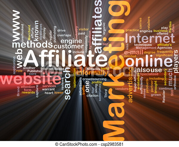Affiliate marketing word cloud box package - csp2983581
