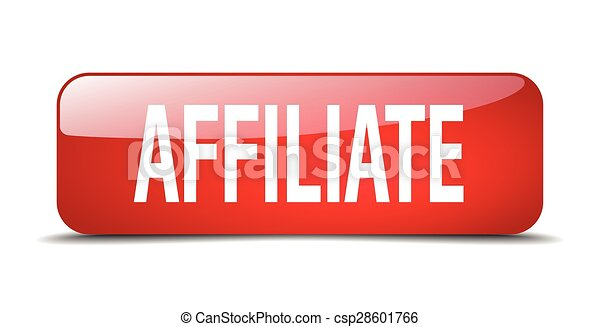 affiliate red square 3d realistic isolated web button - csp28601766