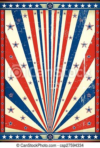 affisch, amerikan, grunge - csp27594334