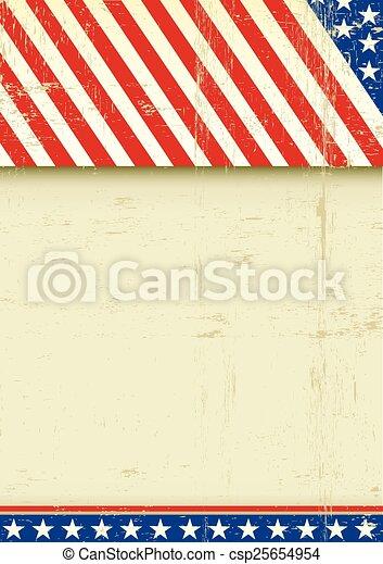 affisch, amerikan, grunge, flagga - csp25654954