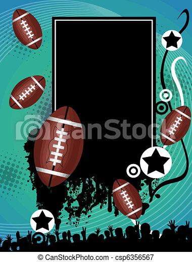 affisch, amerikansk fotboll, grunge - csp6356567