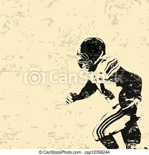 affisch, amerikansk fotboll, grunge - csp12356244