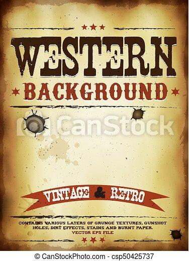 affisch, grunge, västra - csp50425737