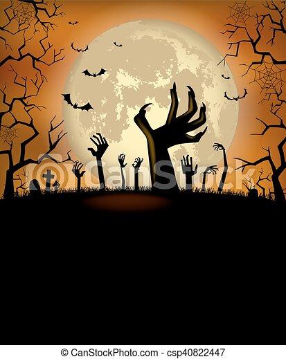 affisch, halloween, bakgrund - csp40822447
