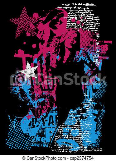 affisch, kvinna, mode - csp2374754