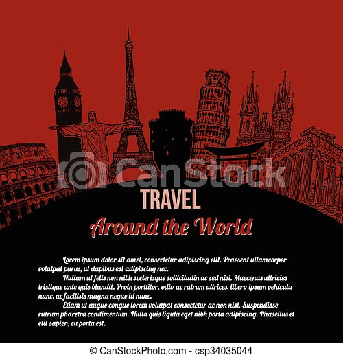 affisch, resa, omkring, värld, retro - csp34035044