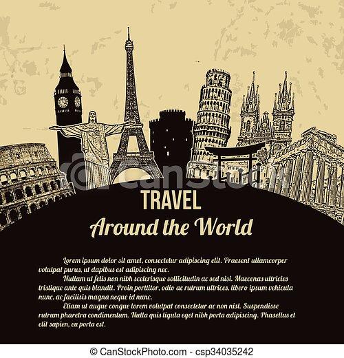 affisch, resa, omkring, värld, retro - csp34035242