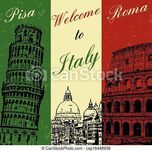 affisch, välkommen, italien, årgång - csp16448936
