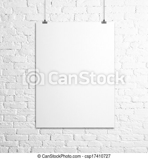affisch, vit - csp17410727