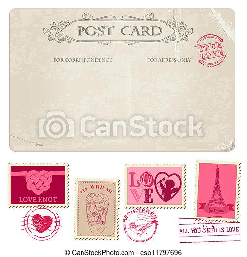 affrancatura, cartolina, vendemmia, -, disegno, invito, francobolli, matrimonio, album, congratulazione - csp11797696