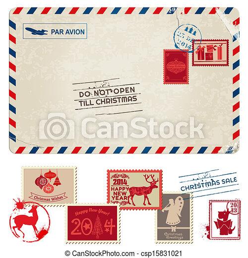 affrancatura, cartolina, vendemmia, -, natale, francobolli, vettore, album, disegno - csp15831021