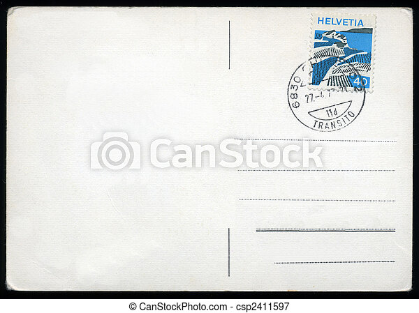 affrancatura, cartolina, vuoto, metro, francobollo - csp2411597