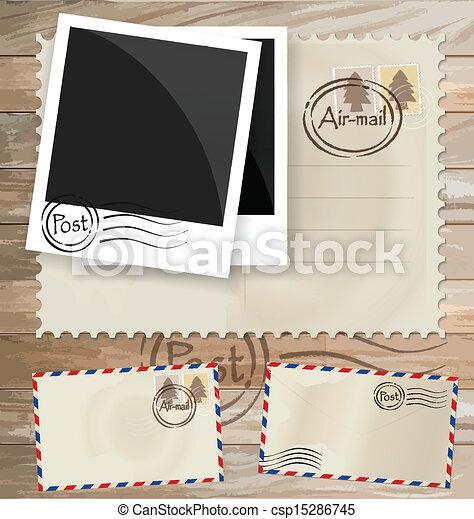 affrancatura, eps10, cartolina, vendemmia, progetta, busta, vettore, stamps. - csp15286745