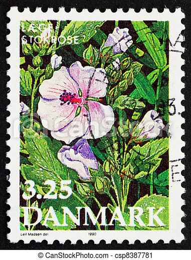 affranchissement 1990 fleur guimauve timbre danemark photographie de stock rechercher. Black Bedroom Furniture Sets. Home Design Ideas