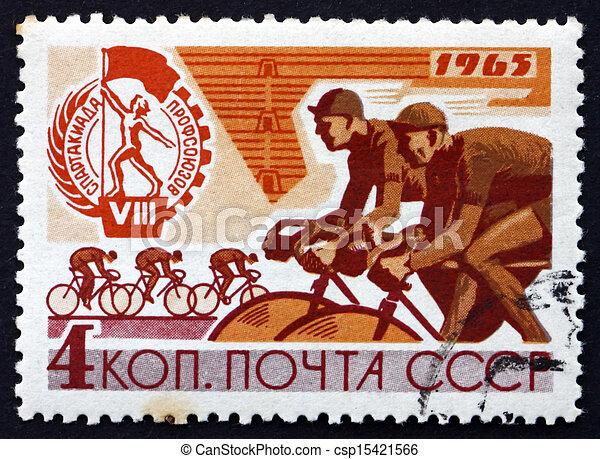affranchissement, vélo, timbre, 1965, course, russie - csp15421566