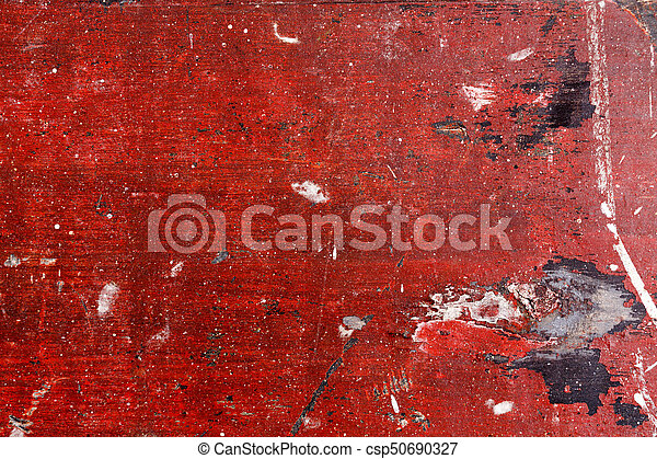 afgebroken, grunge, stijl, achtergrond., hout, paint., rood - csp50690327