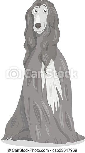 afghan hound dog cartoon - csp23647969