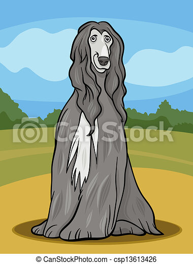 afghan hound dog cartoon illustration - csp13613426