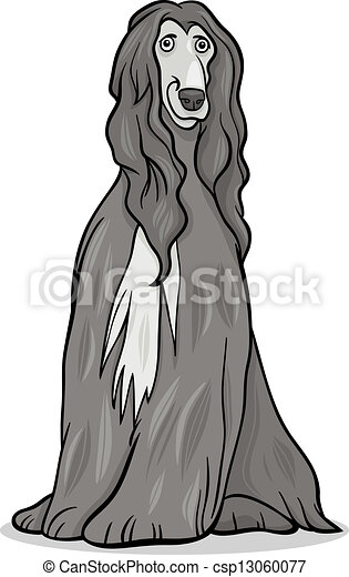 afghan hound dog cartoon illustration - csp13060077
