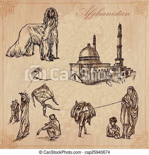 Afghanistan. Hand drawn vector pack no.1 - csp25940674