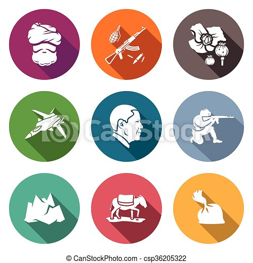 Afghanistan Icons Set. Vector Illustration. - csp36205322