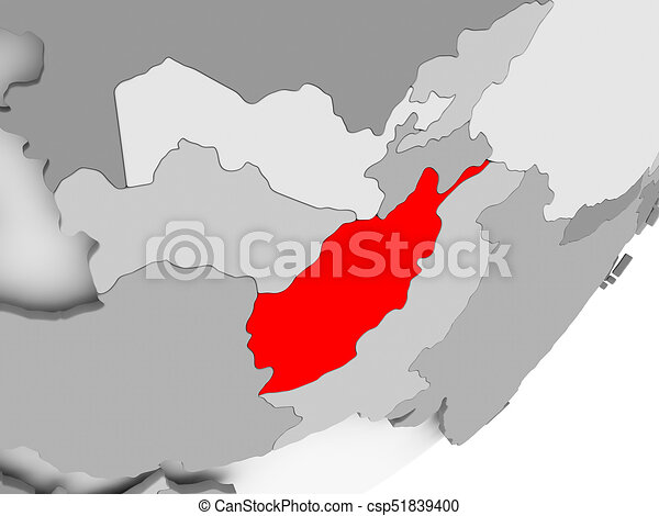 Afghanistan In Red On Grey Map Illustration Of Afghanistan