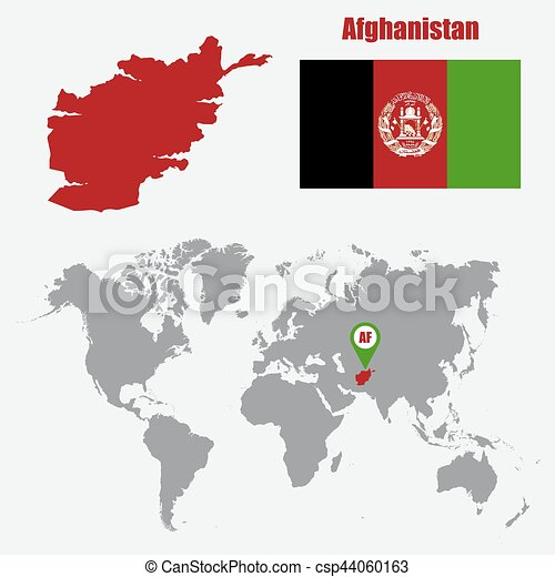 Afghanistan map on a world map with flag and map pointer. Vector  illustration