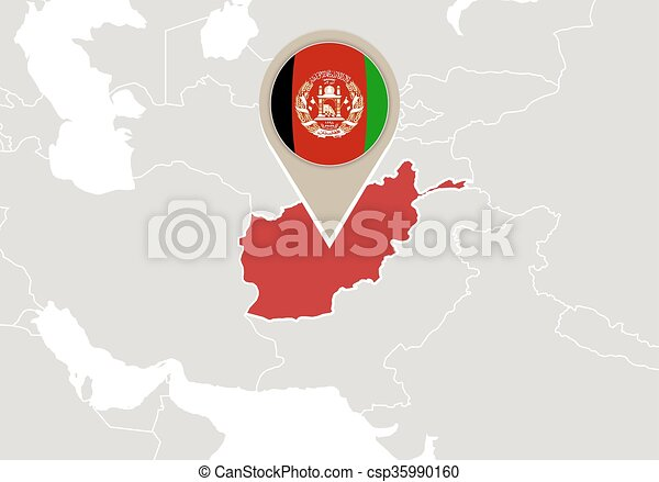 Afghanistan On World Map Map With Highlighted Afghanistan Map And Flag