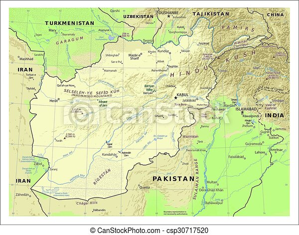 Afghanistan physiography map. Country physiography map.