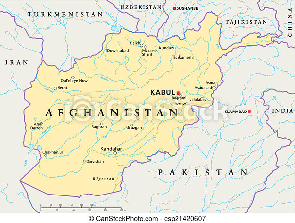 Afghanistan Political Map - csp21420607