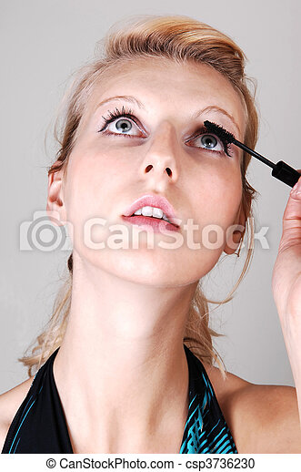 afixando, loura, menina, dela, eyelashes. - csp3736230
