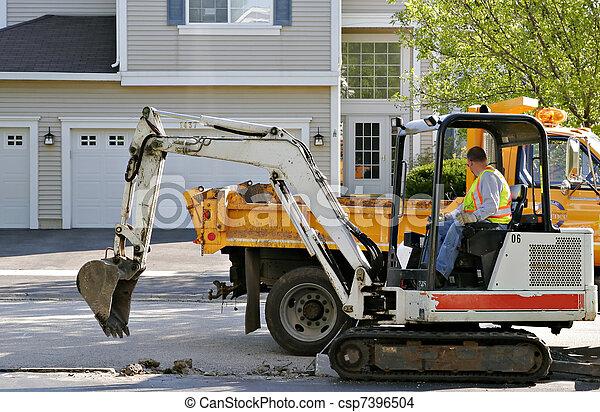 afixando, trabalhador construção, estrada - csp7396504